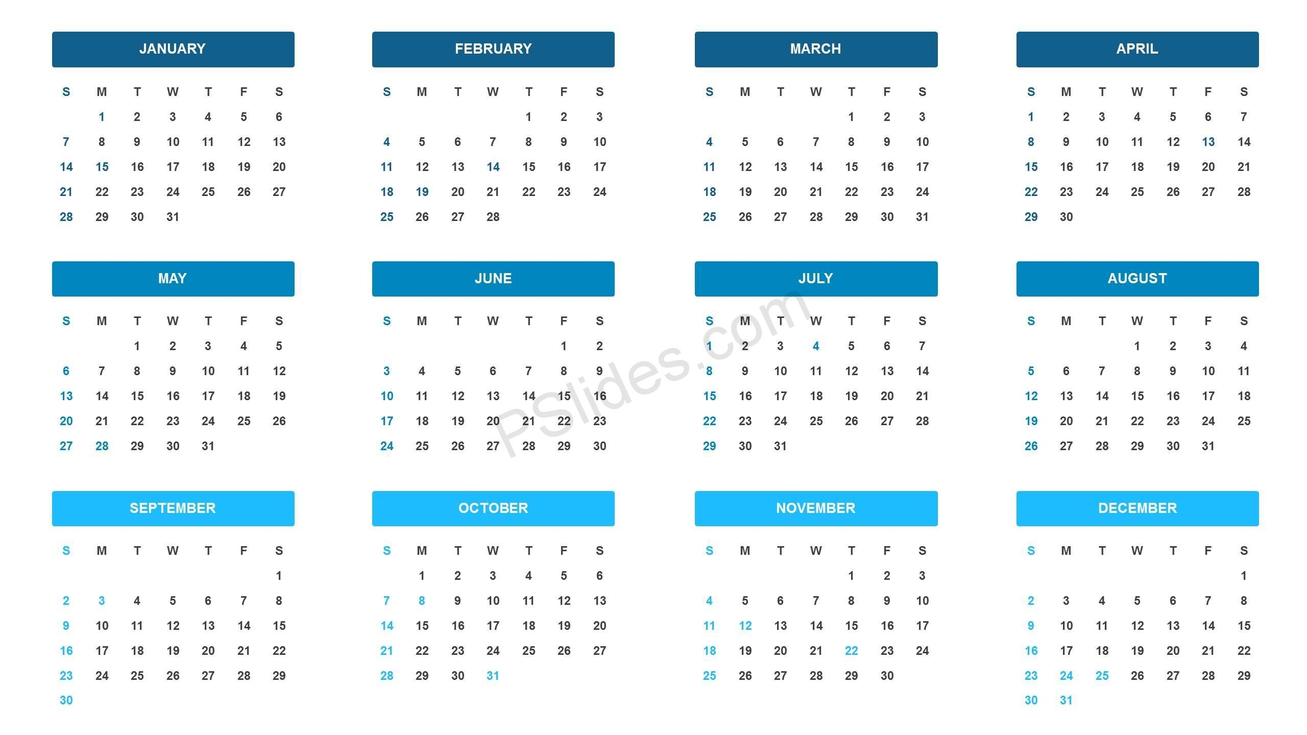 2018 Year At A Glance Ppt Template - Pslides  Calendar At A Glance Template Powerpoint
