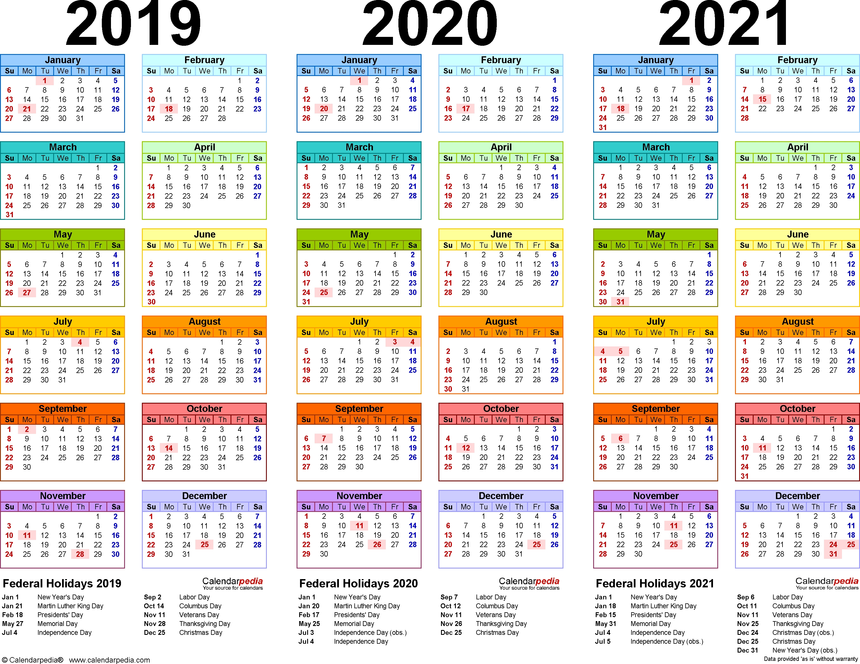 2019/2020/2021 Calendar - 4 Three-Year Printable Pdf Calendars  Date Code Calendar 2020