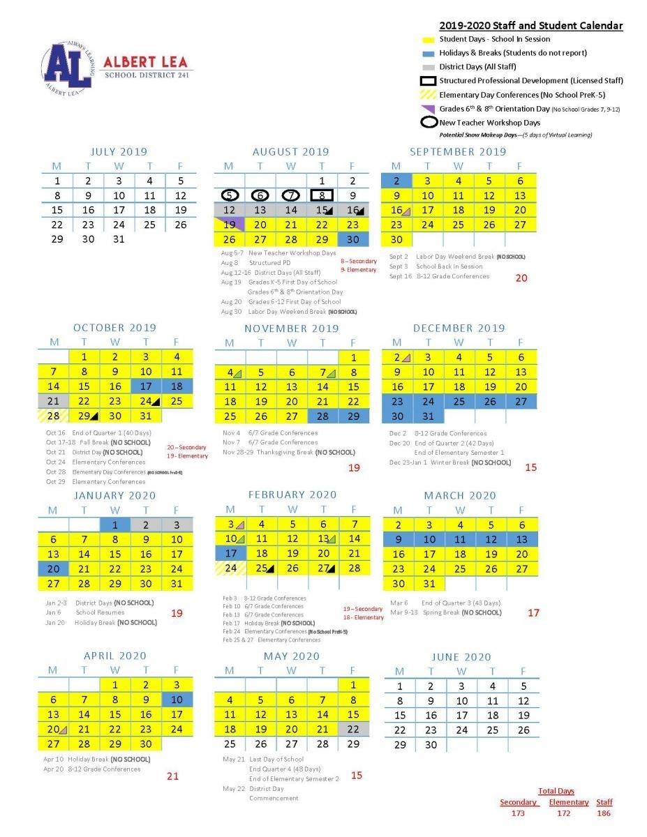 2019-2020 Approved Calendar | Albert Lea Area Schools  Fire Department Schedule Calendar 2020