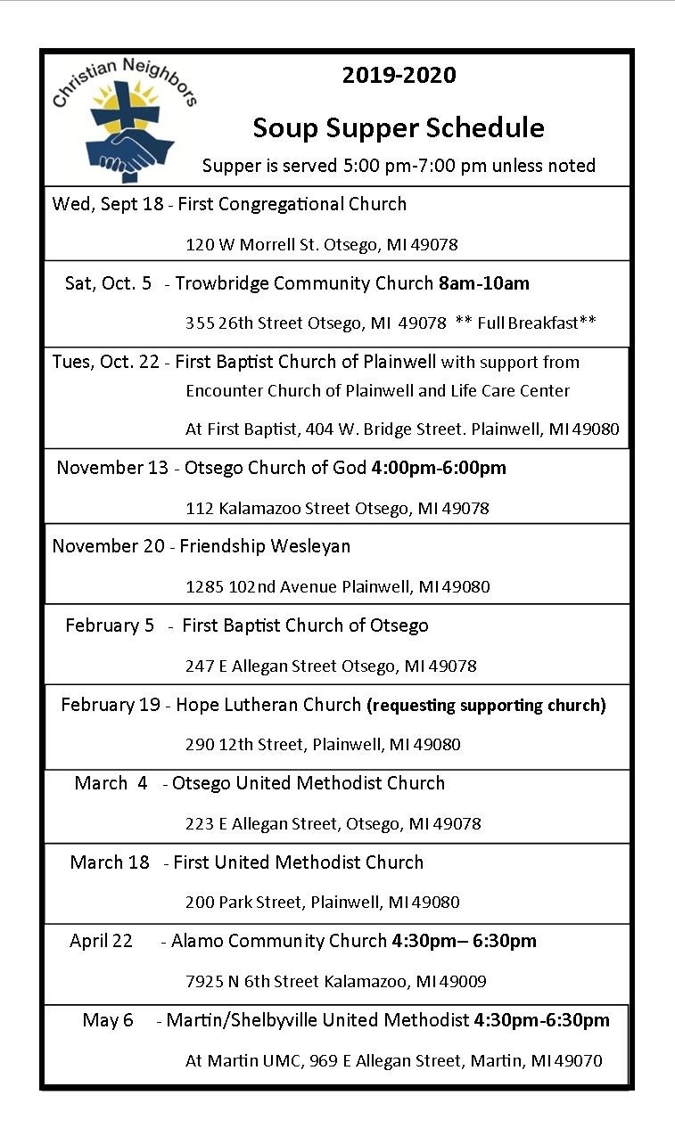 2019-2020 Calendar - Christian Neighbors  United Methodist 2020 Calendar