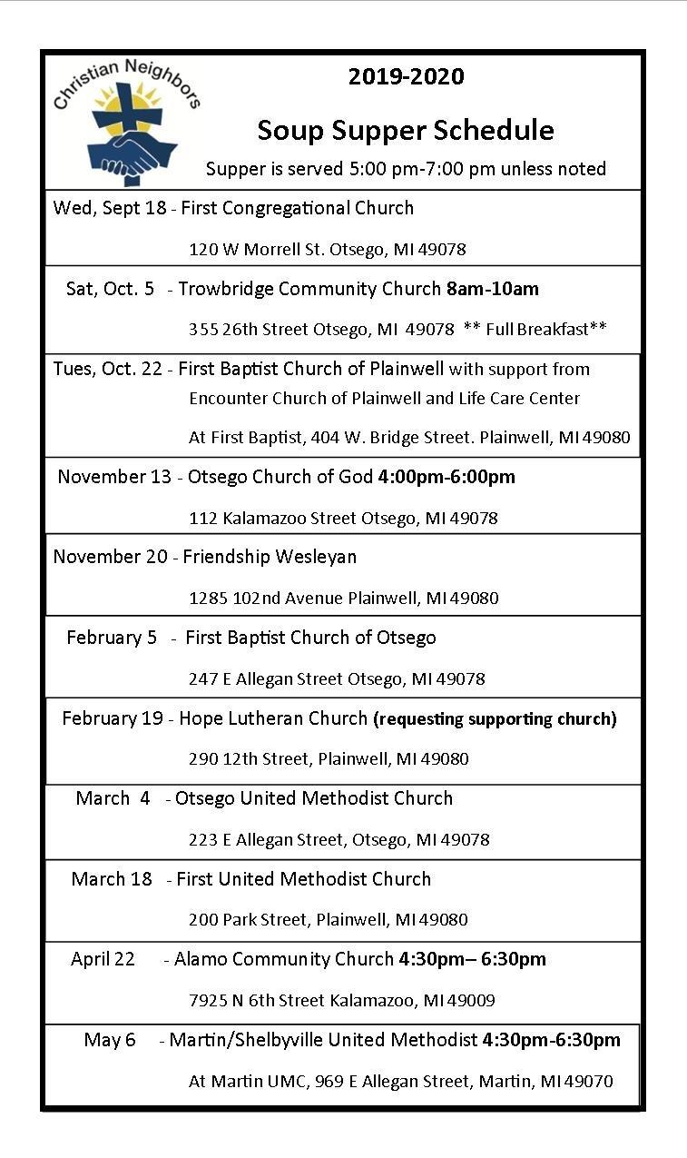 2019-2020 Calendar - Christian Neighbors  United Methodist Church Calendar 2020