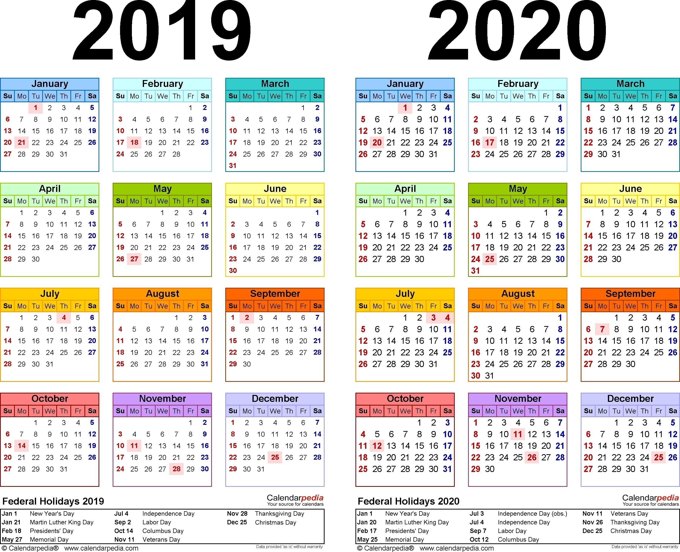 2019-2020 Calendar - Free Printable Two-Year Excel Calendars  365 Day Julian Calendar 2020
