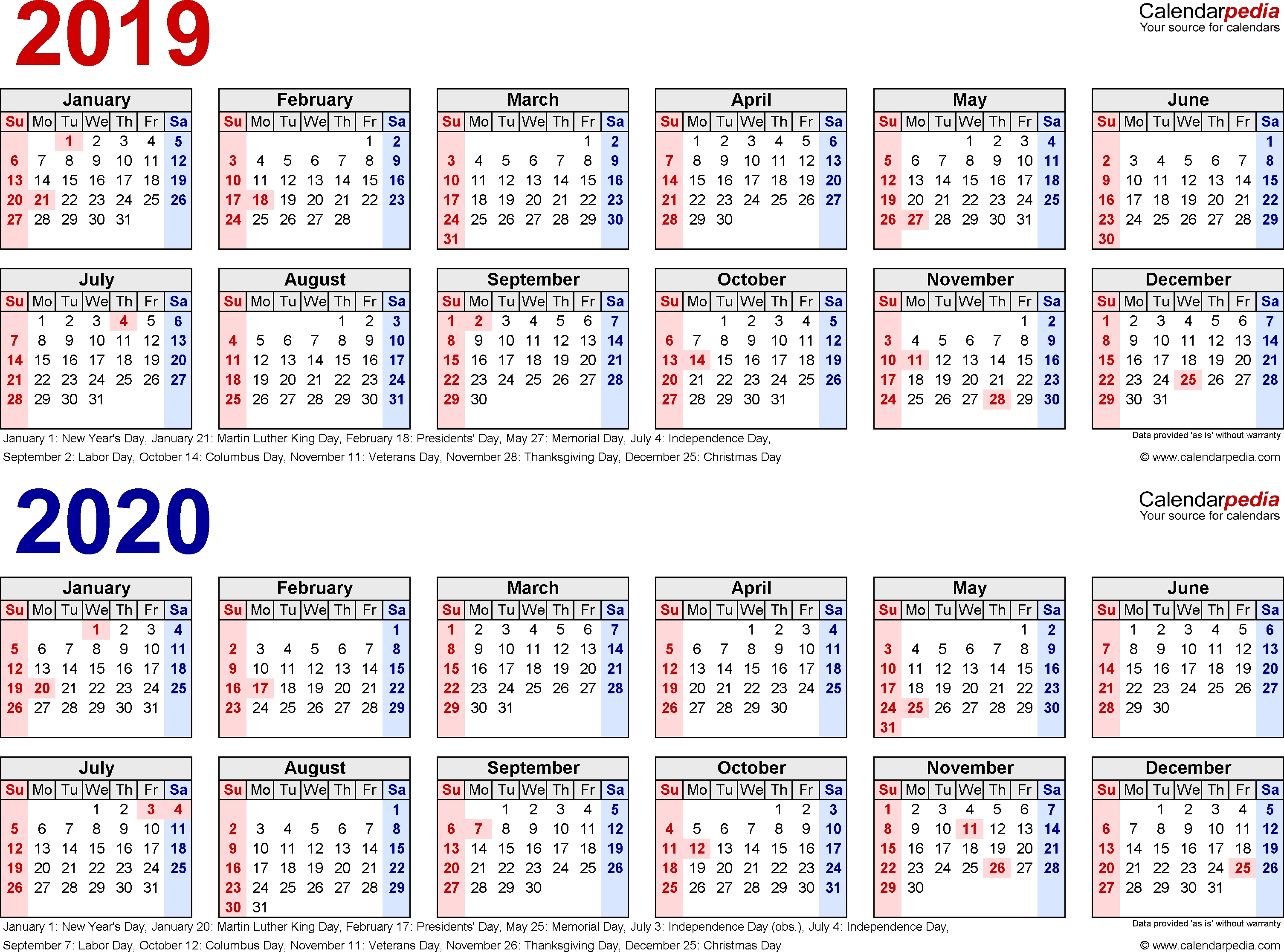 2019-2020 Calendar - Free Printable Two-Year Excel Calendars  Date Code Calendar 2020