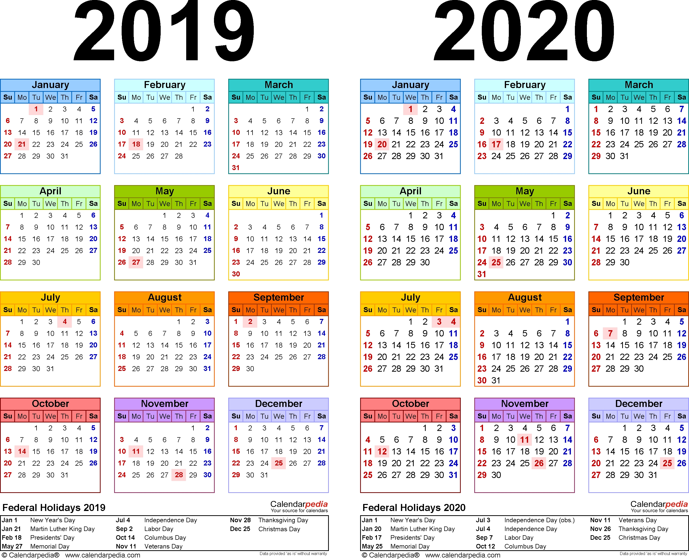 2019-2020 Calendar - Free Printable Two-Year Pdf Calendars  +2020 Calender Month By Month