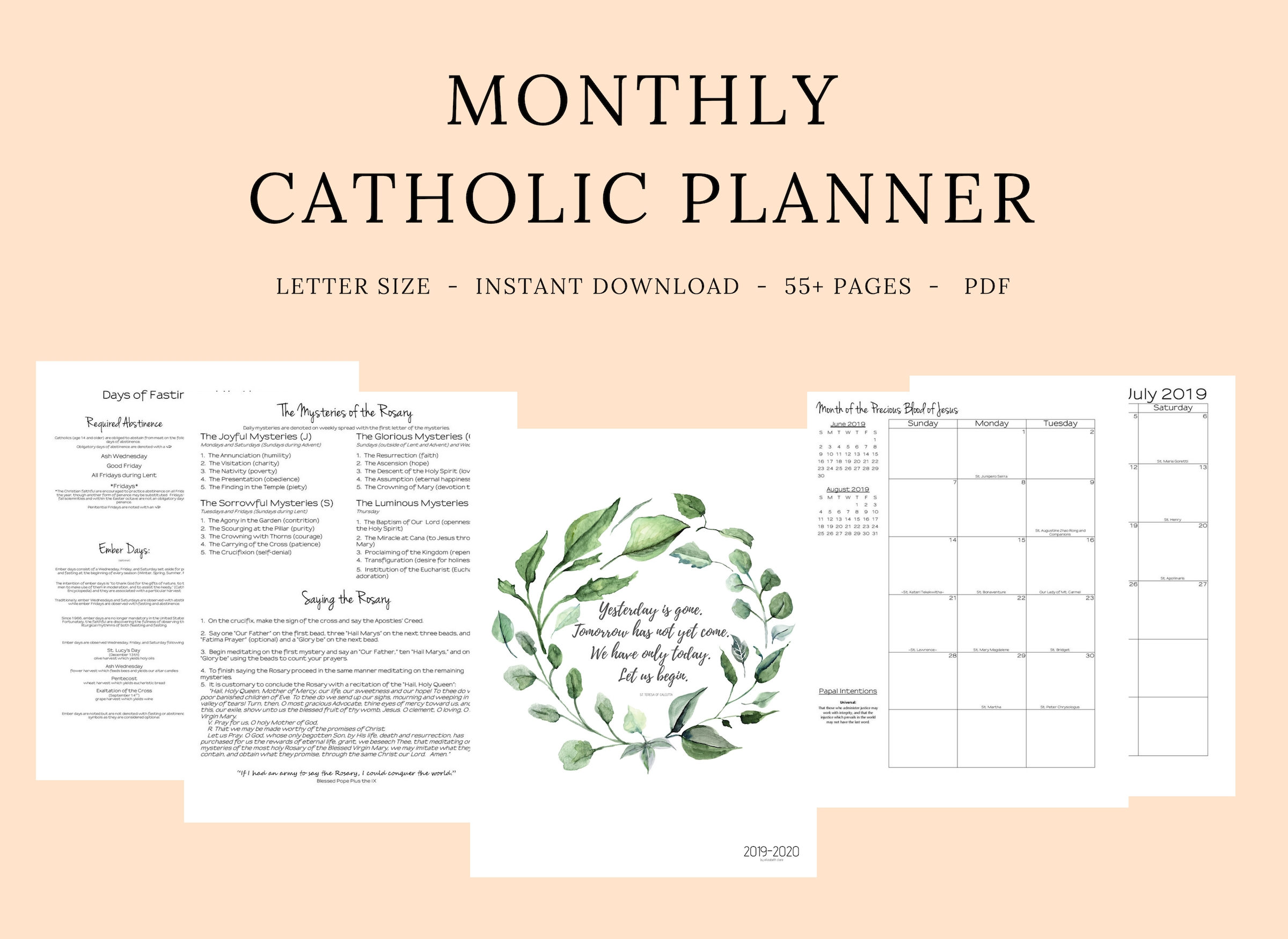 2019- 2020 Catholic Monthly Planner  Printable Liturgical Calendar For 2020