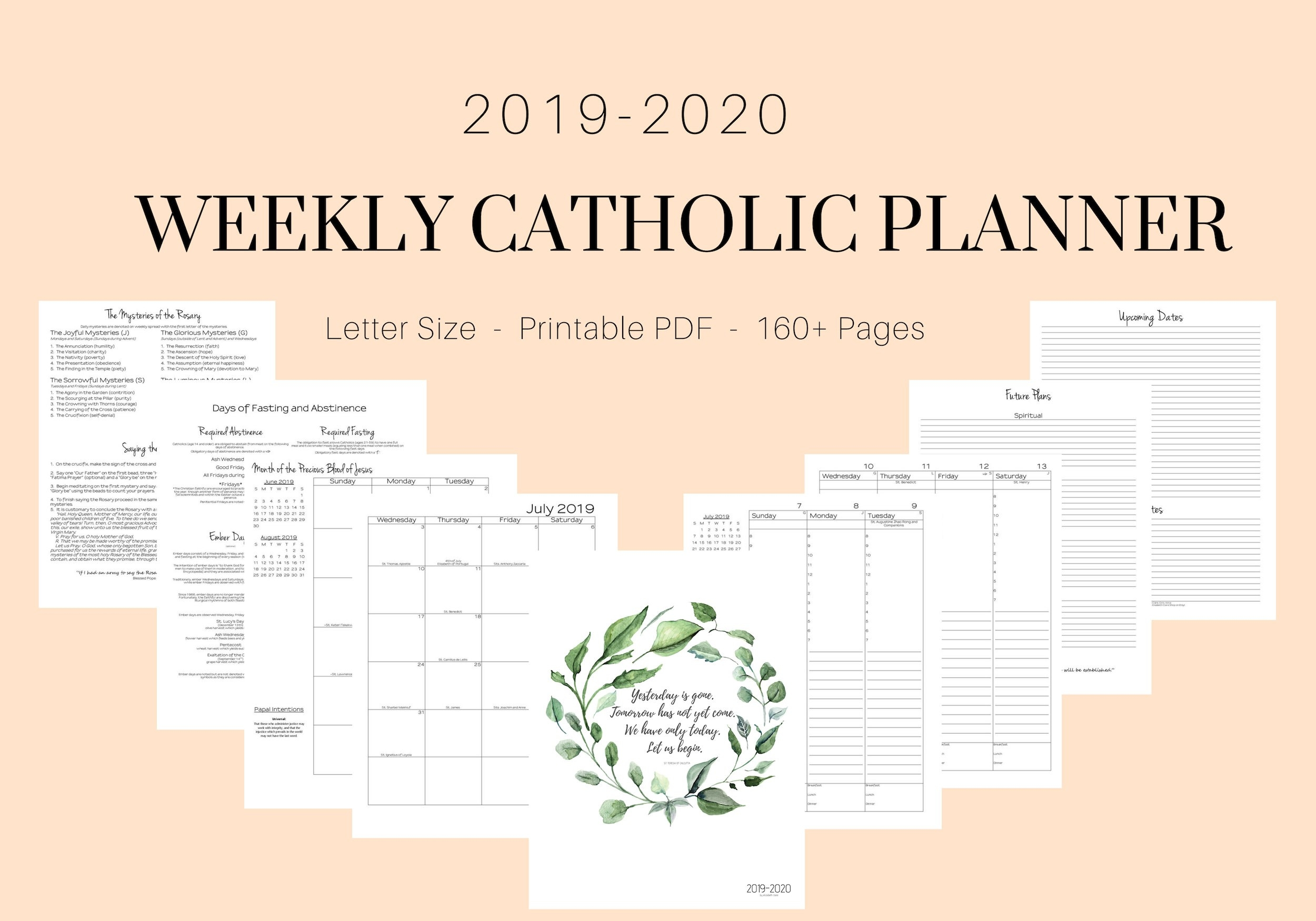 2019 - 2020 Catholic Planner Weekly Printable: Daily Planner / Weekly  Calendar / Liturgical Planner / Printable Catholic Planner  Printable Liturgical Calendar For 2020