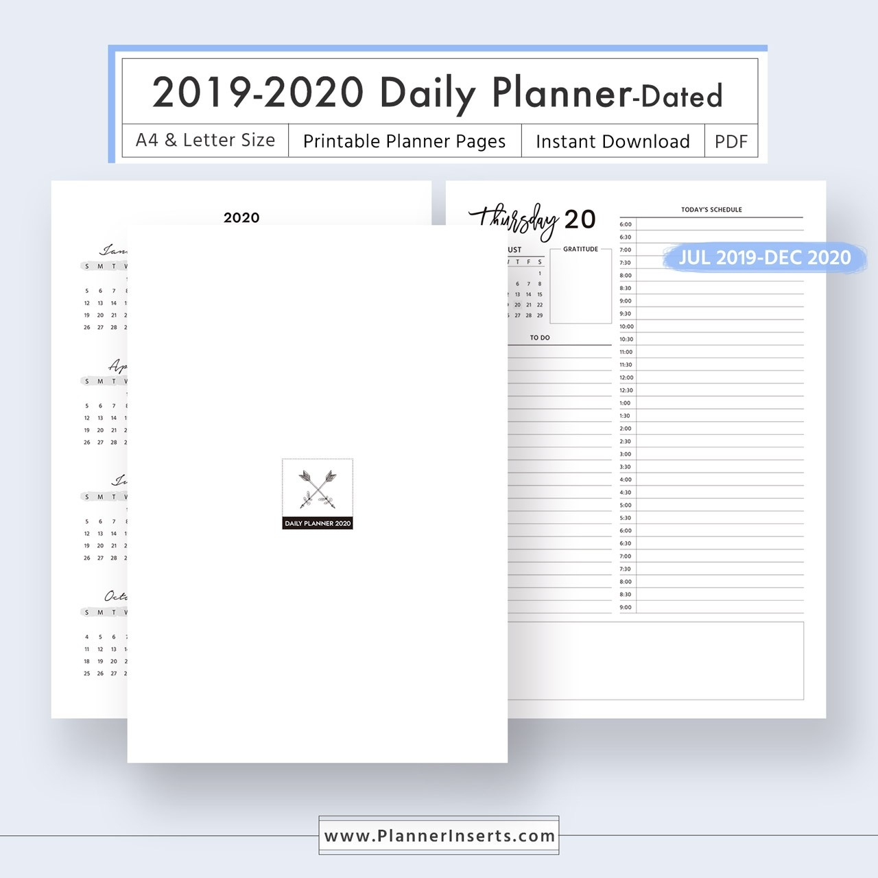 2019-2020 Dated Daily Planner For Unlimited Instant Download - Digital  Printable Planner Inserts In .pdf Format - A4 & Letter Size - Daily  Organizer,  26.catholic Daily Planner Template