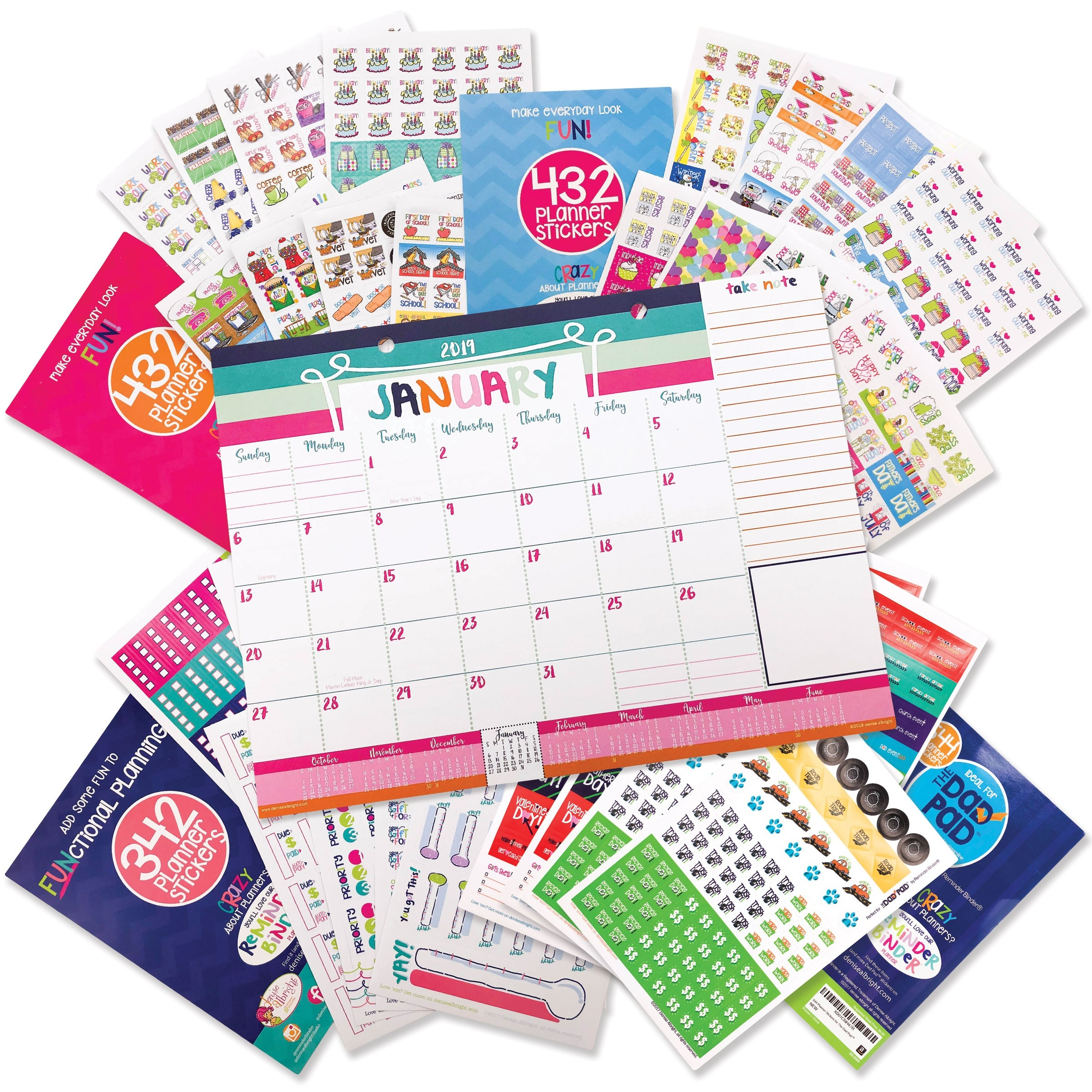 2019-2020 Mini Monthly Desk Calendar + Event Stickers  2020 Bill Pay Calendar