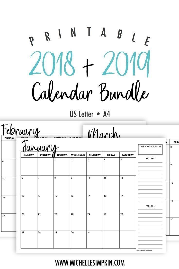 2019 & 2020 Printable Monthly Calendars Bundle • Landscape  Free 2020 Advent Calendar Printable