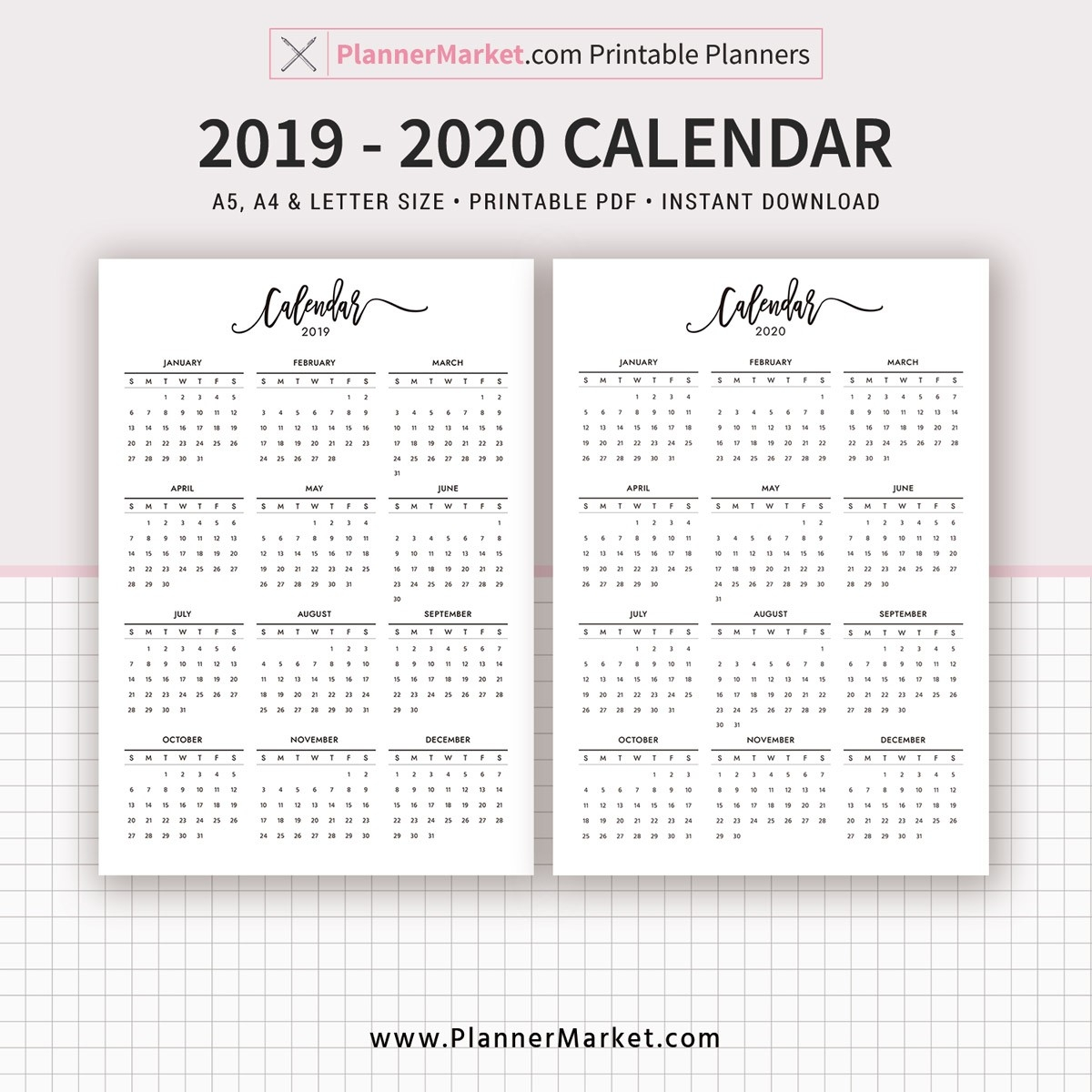2019-2020 Yearly Calendar Printable, Filofax A5, A4, Letter Size, Planner  Refill, Planner Pages, Planner Inserts, Instant Download  Full Size Calendar 2020