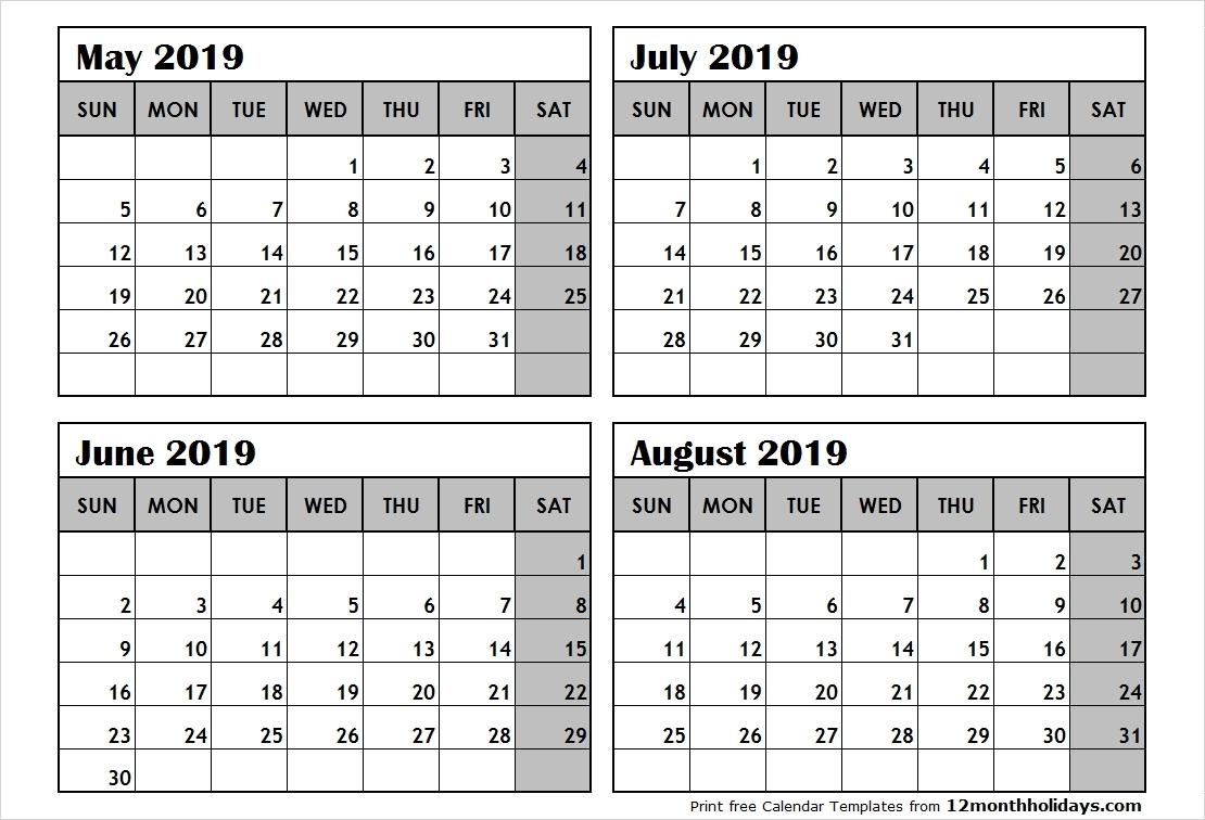 2019 Calendar 4 Months Per Page • Printable Blank Calendar  2020 Calendar Printable 3 Months Per Page