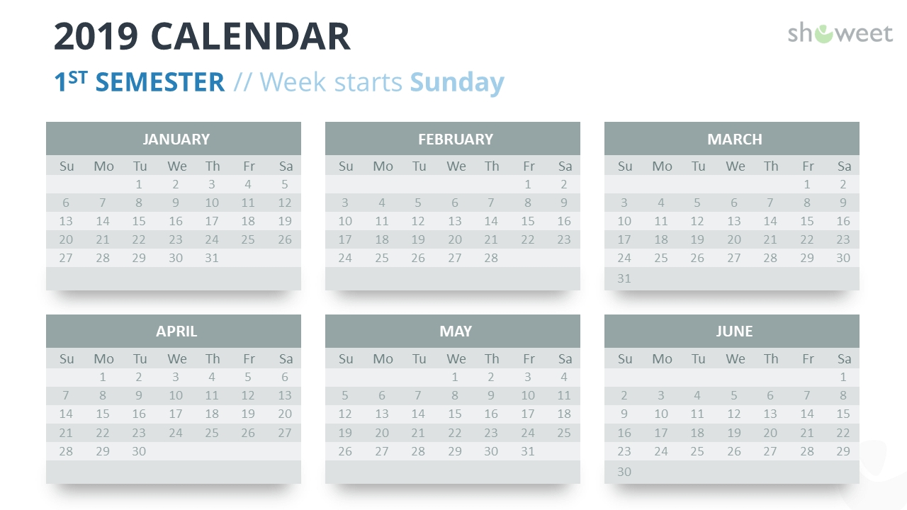 2019 Calendar Powerpoint Templates  Calendar At A Glance Template Powerpoint