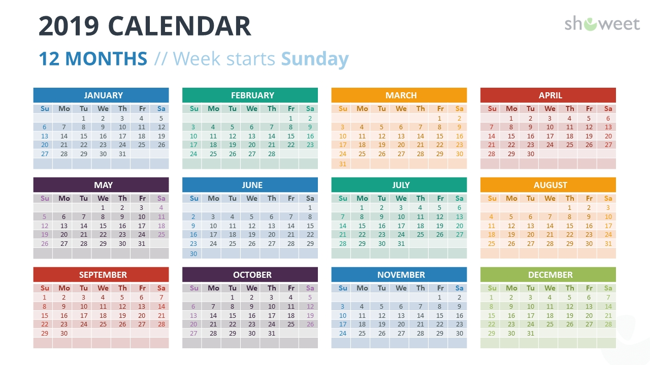 2019 Calendar Powerpoint Templates | Powerpoint Templates  Calendar At A Glance Template Powerpoint