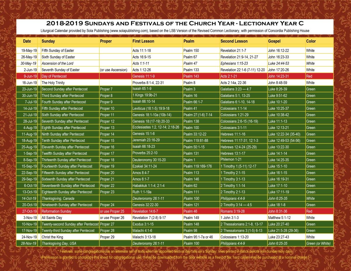 2019 Liturgical Calendar (Year C) K-2019 | Sola Publishing  Methodist Liturgical Calendar