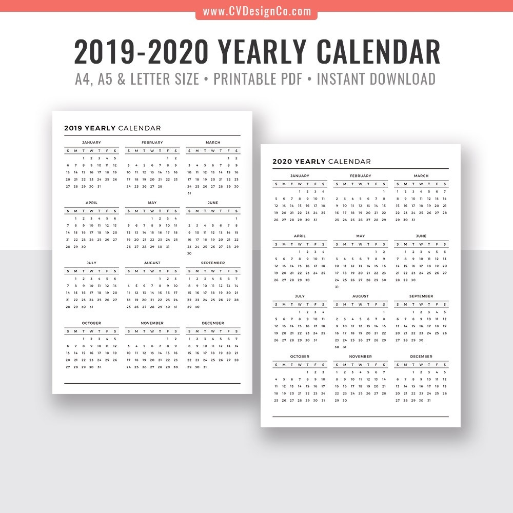 2019 Yearly Calendar And 2020 Yearly Calendar, 2019 - 2020 Yearly Calendar,  Digital Printable Planner Inserts. Filofax A5, A4, Letter Size  Full Size Calendar 2020