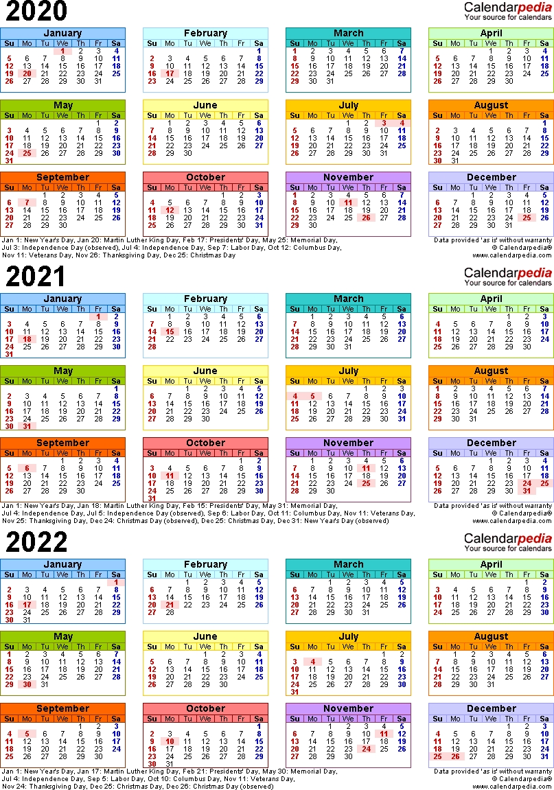 2020/2021/2022 Calendar - 4 Three-Year Printable Pdf Calendars  2020/20 Financial Year Calendar Au Printable