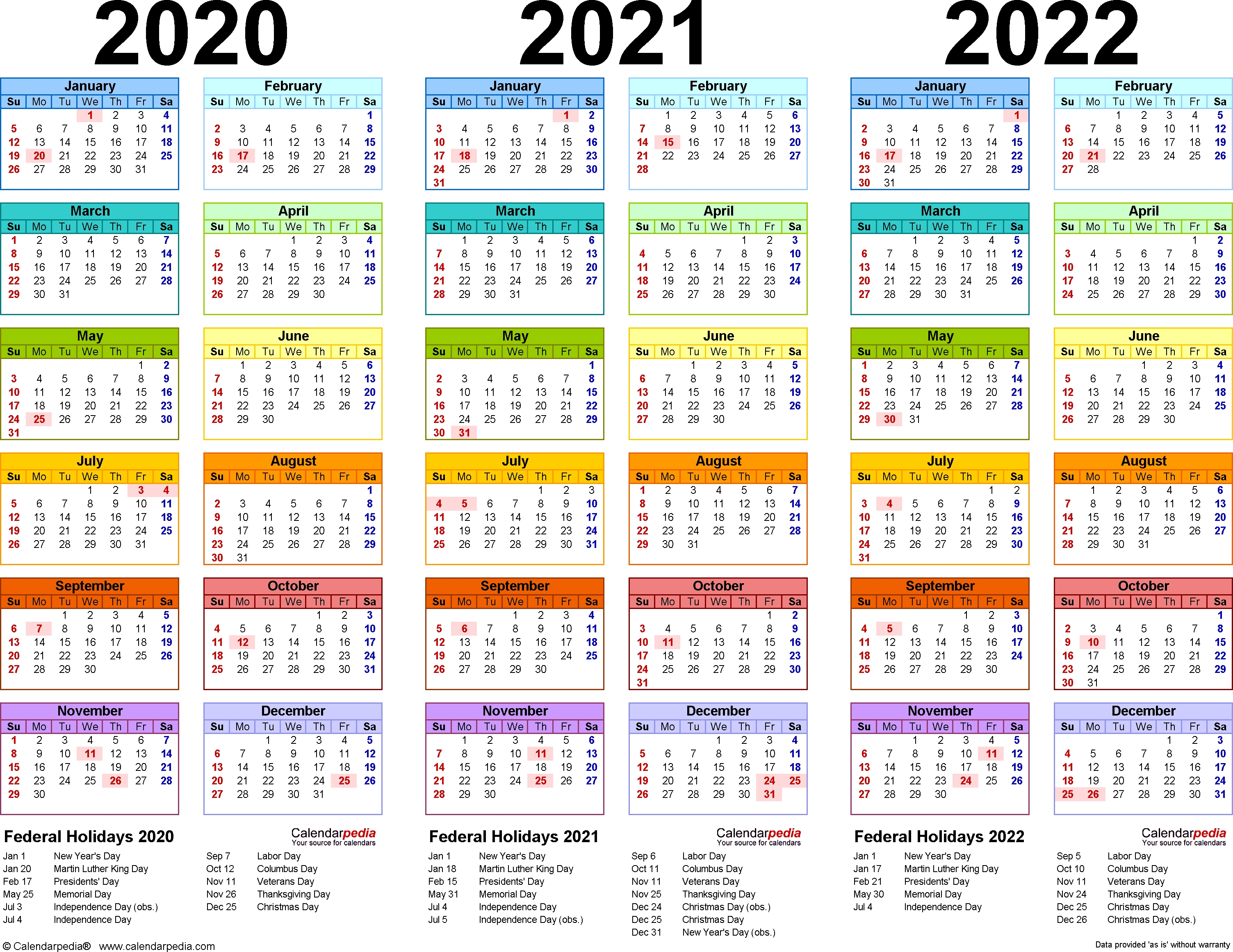 2020/2021/2022 Calendar - 4 Three-Year Printable Pdf Calendars  3 Month Per Page Calendar 2020