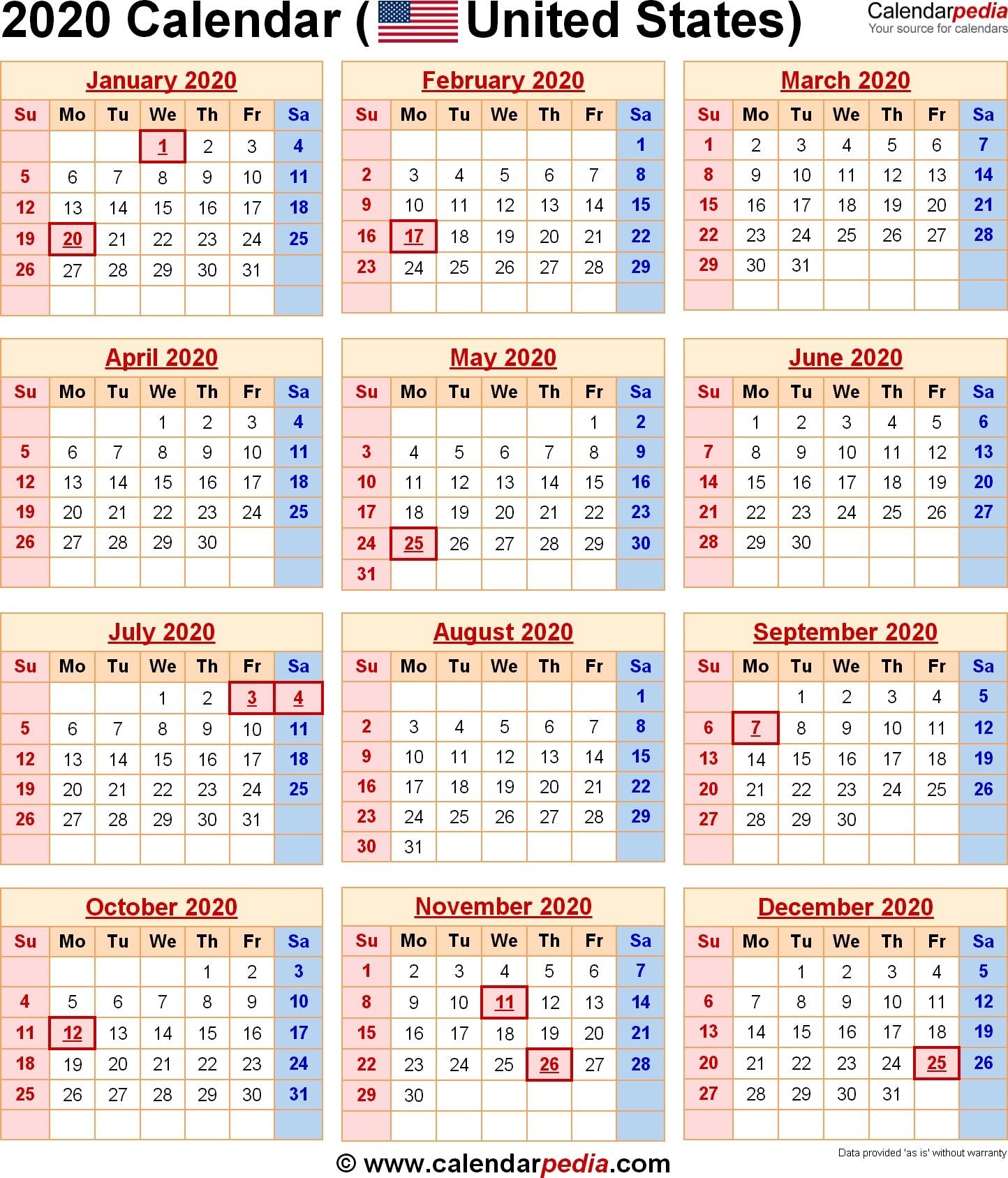 2020 Calendar Excel – Calendar Printable Week Throughout  Weekly Payroll Calendar 2020 Printable