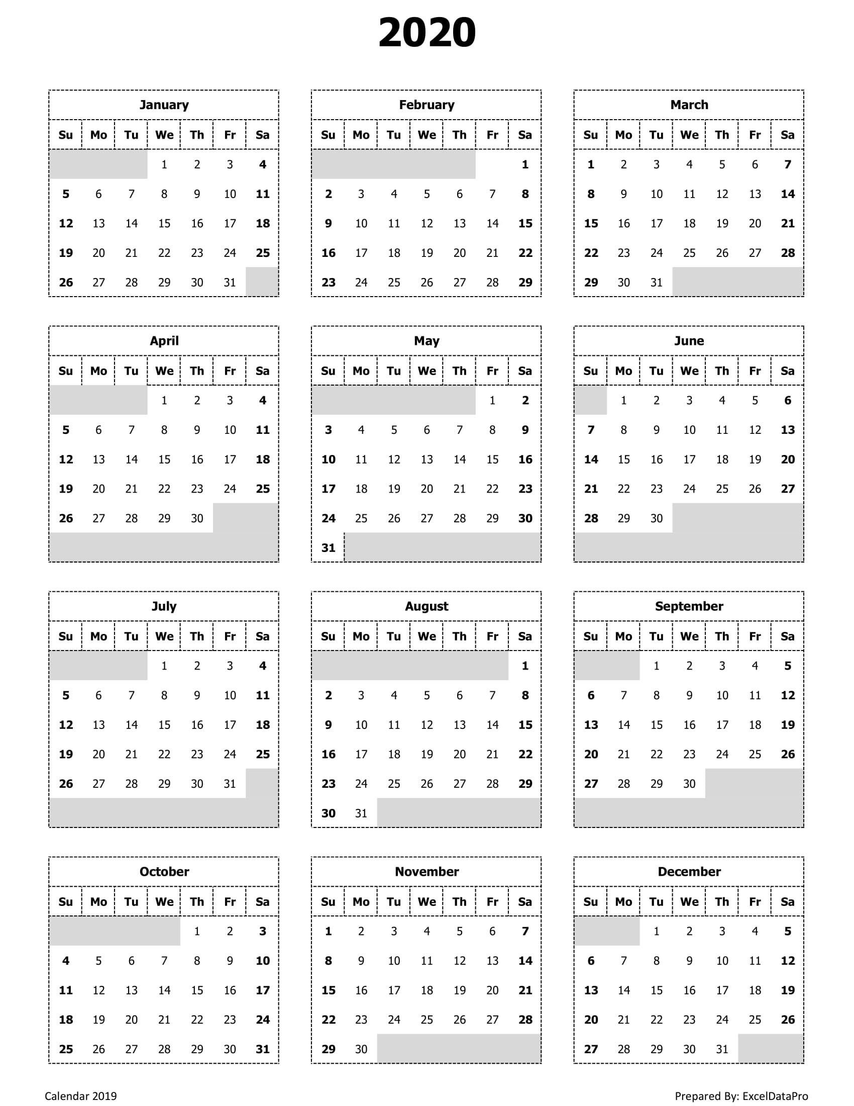 2020 Calendar Excel Templates, Printable Pdfs & Images  Full Size Calendar 2020