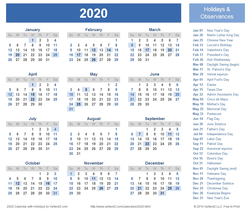 2020 Calendar Prints For Planning! | Planner | 2018 Calendar  2020 Fun National Holiday Calendar