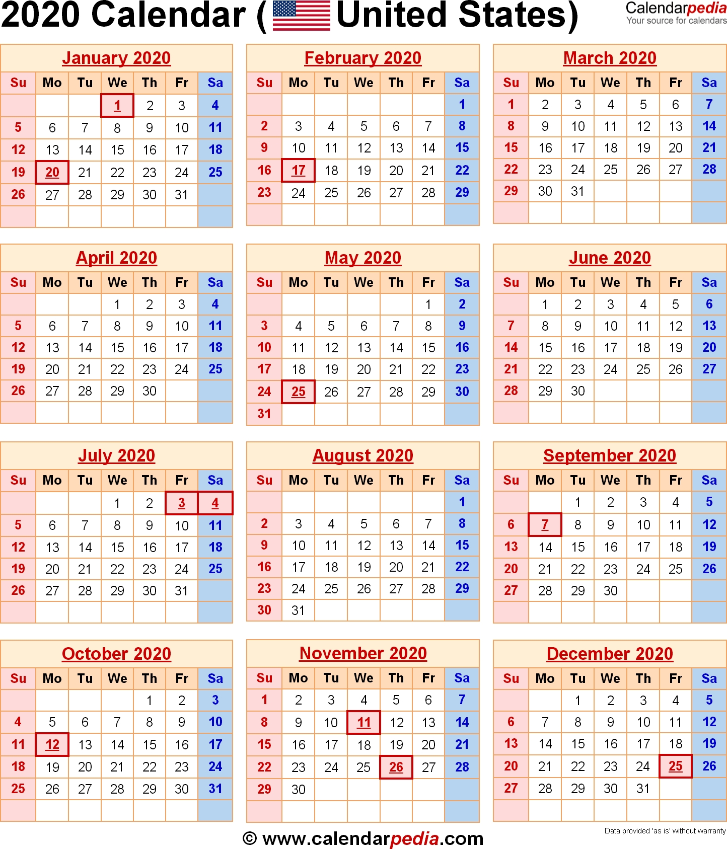 2020 Calendar With Federal Holidays & Excel/pdf/word Templates  Date Code Calendar 2020