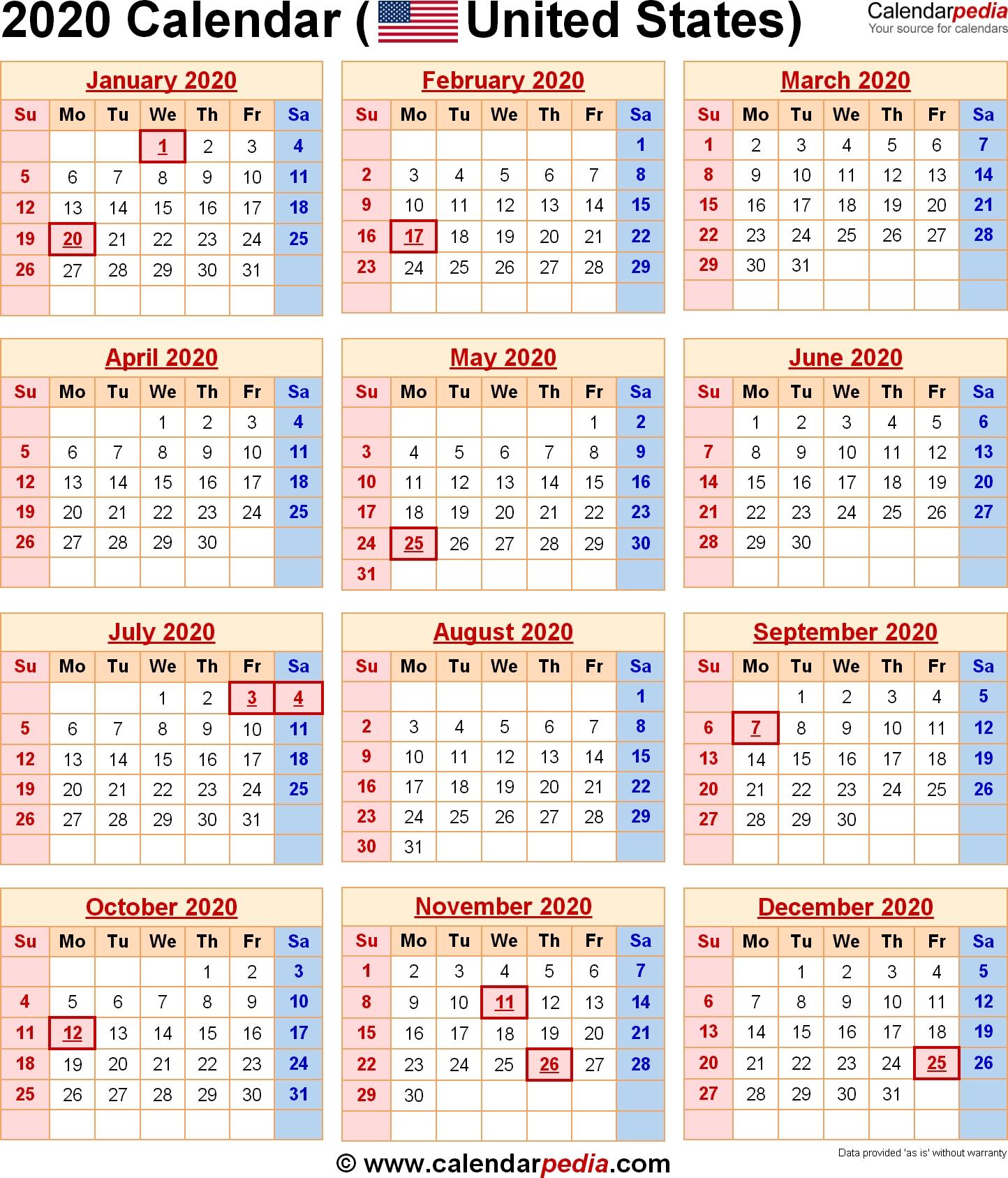 2020 Calendar With Federal Holidays & Excel/pdf/word Templates  Date Code Calendar 2020