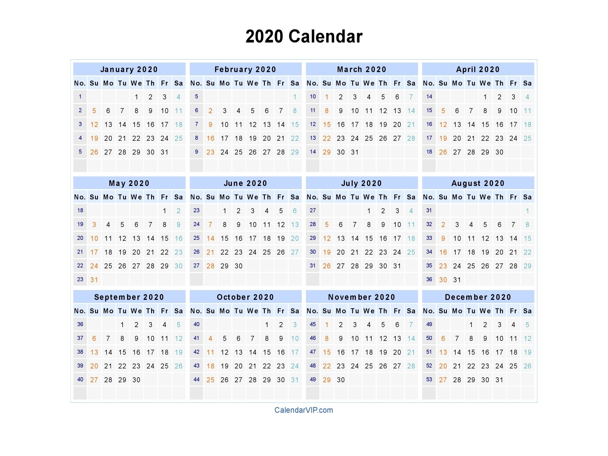 2020 Calendar With Week Numbers | Free Printable Calendar  2020 Calendar With Week Numbers In Pdf