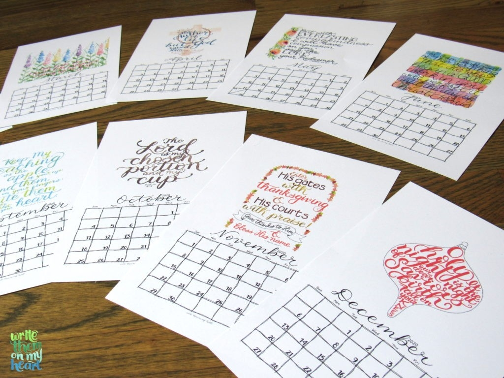 2020 Christian Printable Wall Calendars - Write Them On My Heart  Printable Calendar 2020 With Scriptures