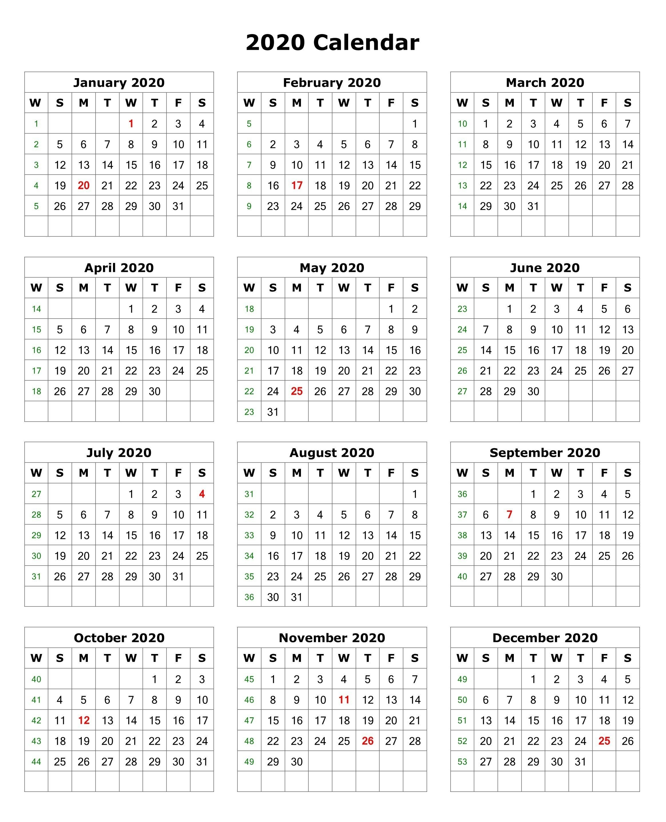 2020 One Page Portrait Calendar | 2020 Calendars | Monthly  Printable Full Page Calendar 2020