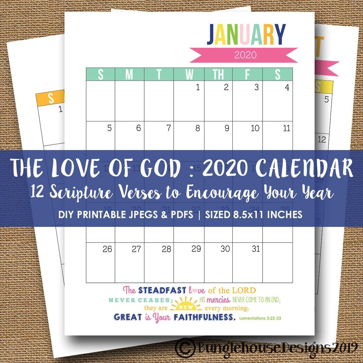 2020 Printable Calendar | 2020 Scripture, Bible Verse Calendar | Instant  Download Printable Calendar For 2020 Planner | Christian Calendar  Printable Calendar 2020 With Scriptures