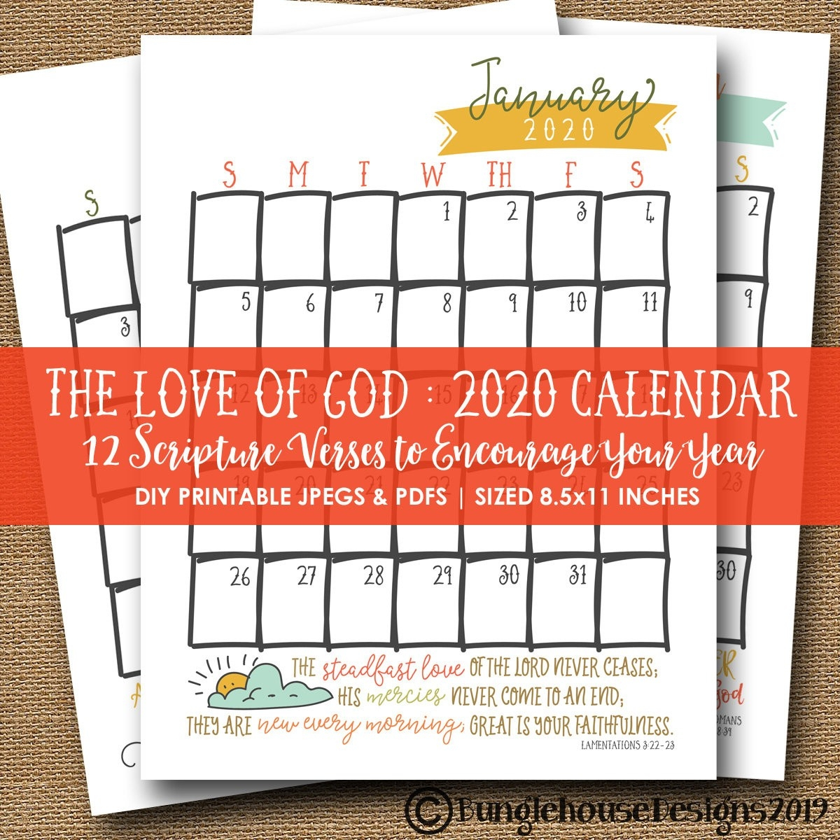 2020 Printable Calendar | Scripture, Bible Verse 2020 Calendar | Instant  Download Printable Calendar For 2020 Planner | Christian Calendar  Printable Calendar 2020 With Scriptures