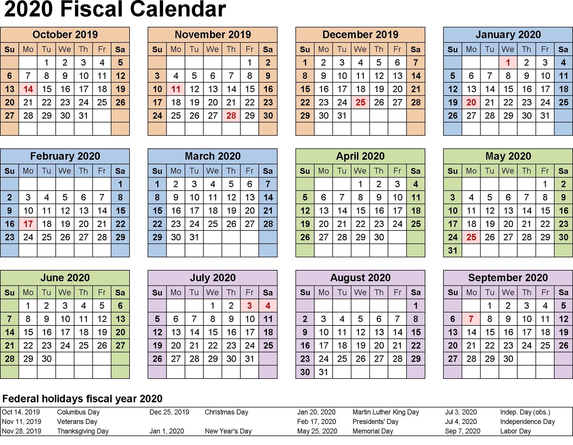 2020 Yearly Calendar Printable | Calendar Shelter  Financial Year Dates 2020/2020 Australia