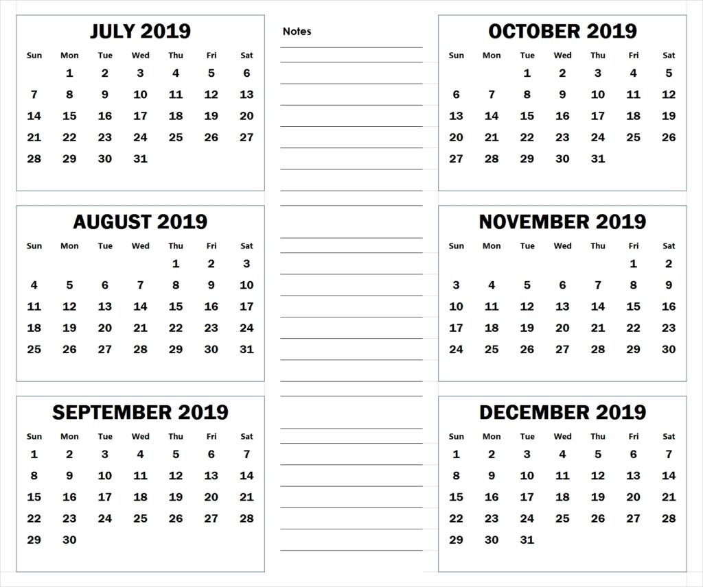 5 Month Blank Calendars For August – December 2019  August - December