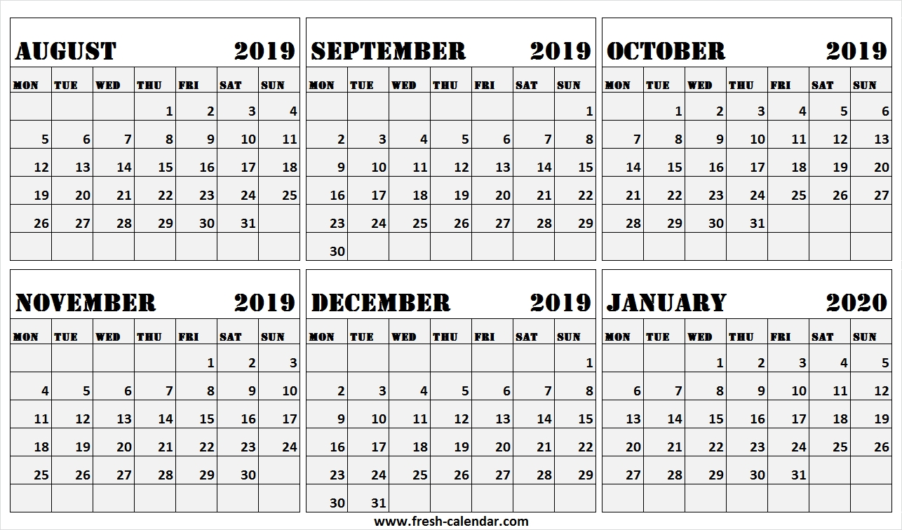 6 Month Calendar August 2019 To January 2020 Free | 2019  Aug - Dec 2020 Calendar