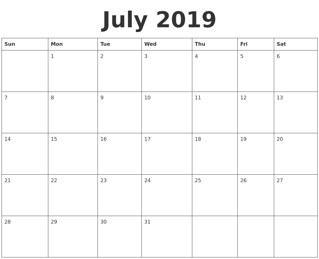 8 X 10 Printable Calendar July 2019 | Calendar Format Example  Blank Calander Format 8X 10