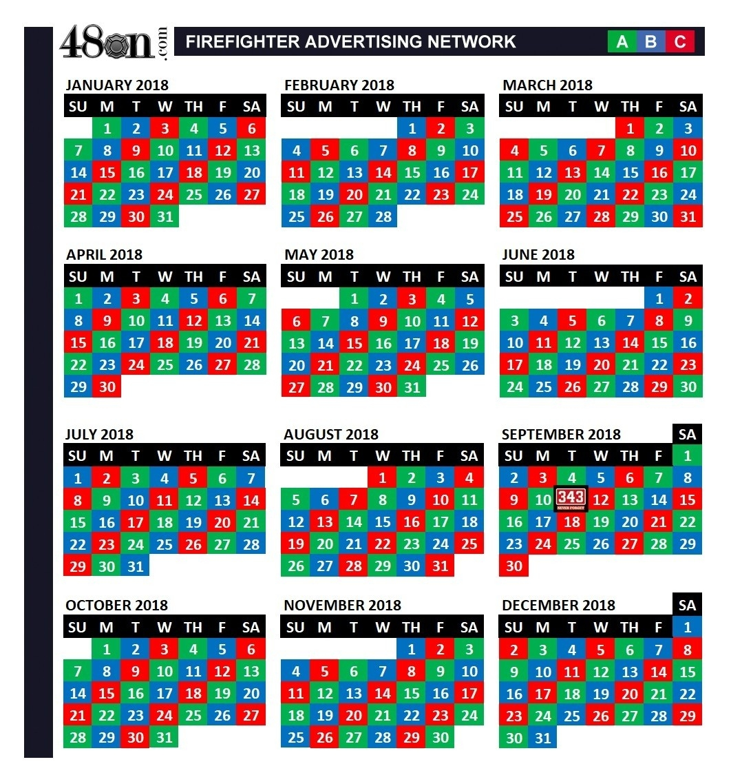 A B C Shift Calendar | Ten Wall Calendar  Riverside Fire Department Shift Calendar