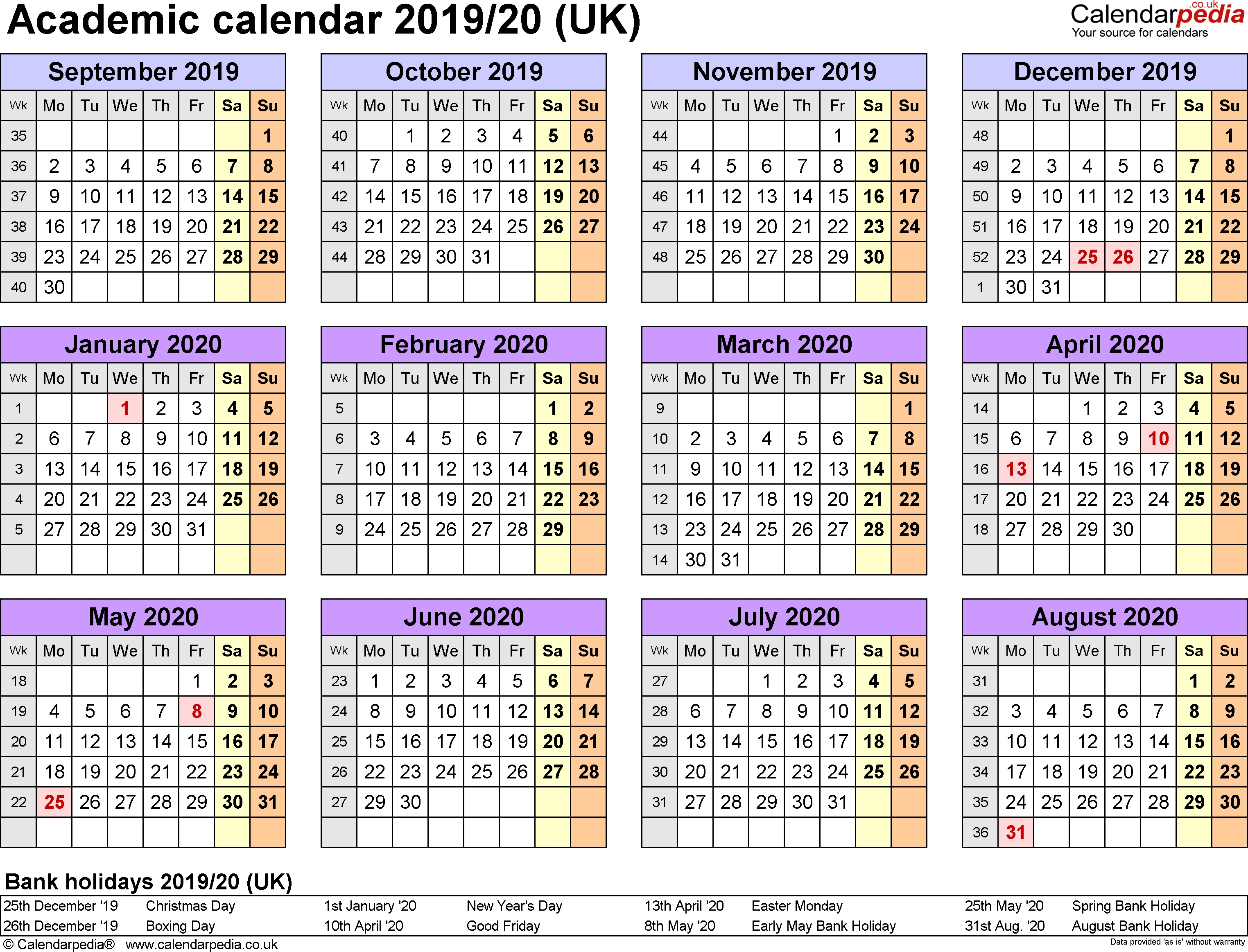 Academic Calendars 2019/2020 As Free Printable Word Templates  2020/20 Financial Year Calendar Au Printable