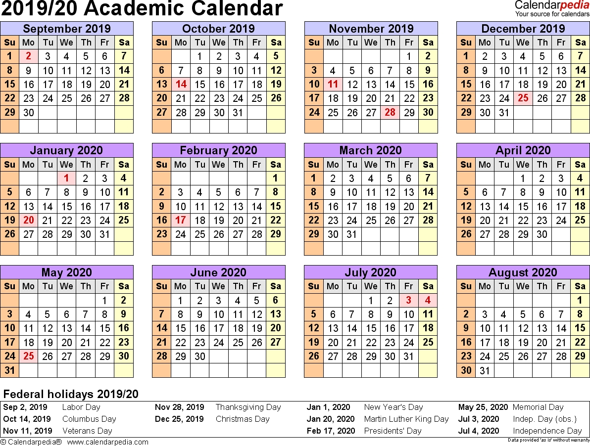 Academic Calendars 2019/2020 - Free Printable Excel Templates  July 2020 To June 2020 Australia Calendar