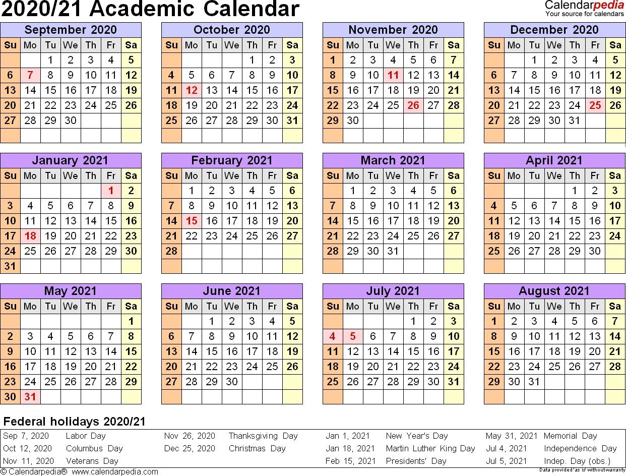Academic Calendars 2020/2021 - Free Printable Pdf Templates  Calendar 2020 August-December