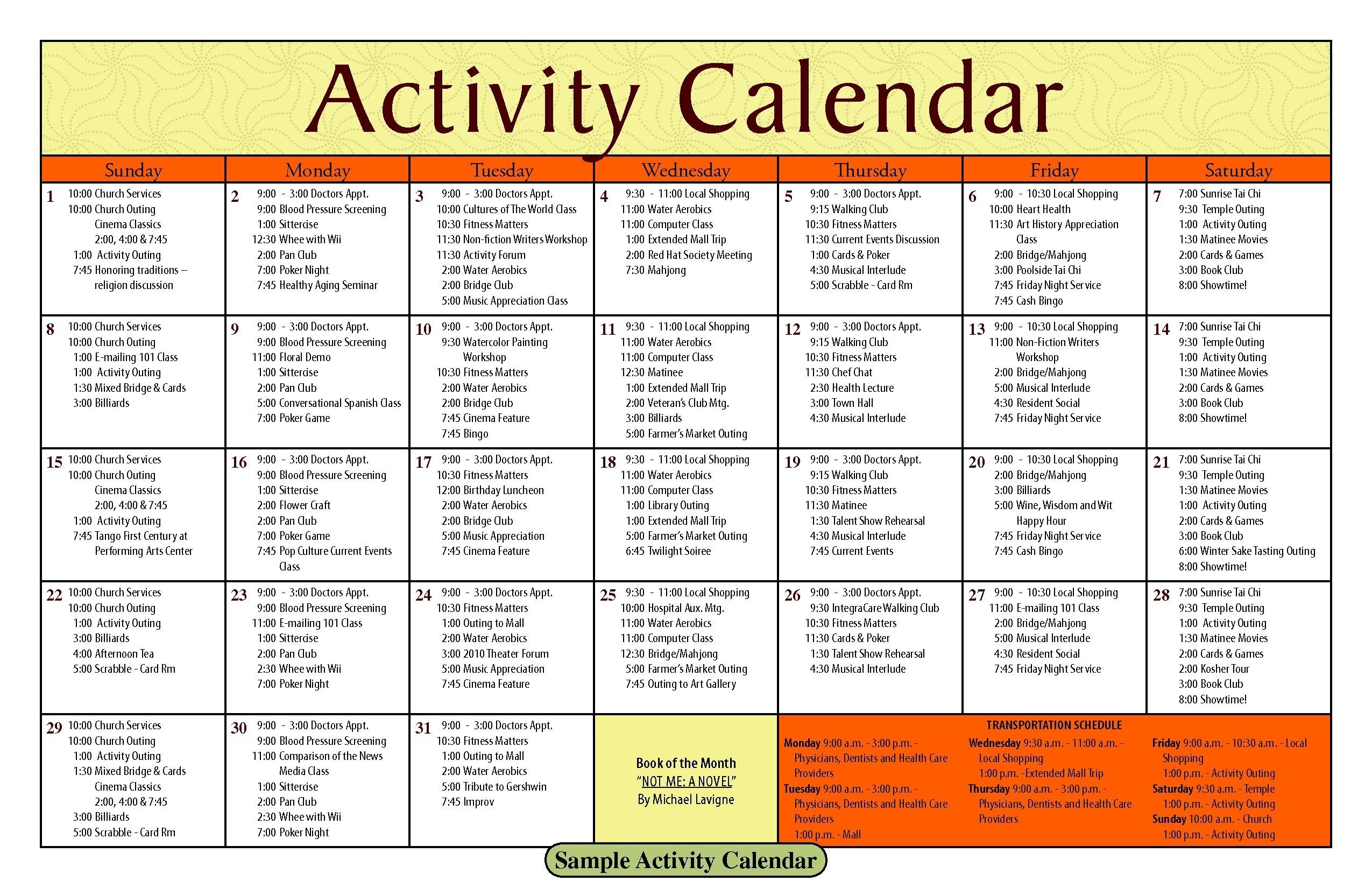 Activity Calendar Template – Printable Week Calendar  Church Calendar Template