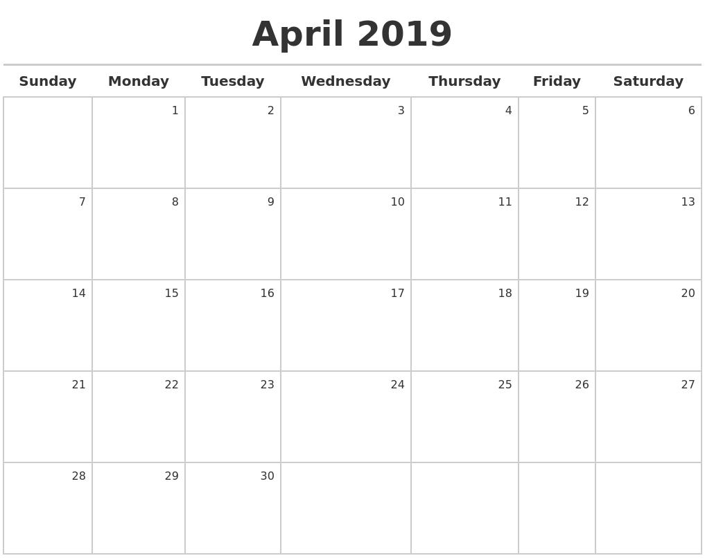 April 2019 Printable Calendar Blank Templates Holidays  Printable Full Page Monthly Calendar Blank
