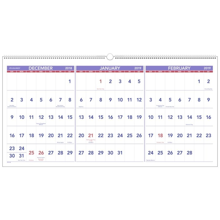 "At-A-Glance® 3-Month 15-Month Reference Horizontal Wall Calendar, 23 1/2"" X  12"", December 2018 To February 2020  Depot Calendar 2020"