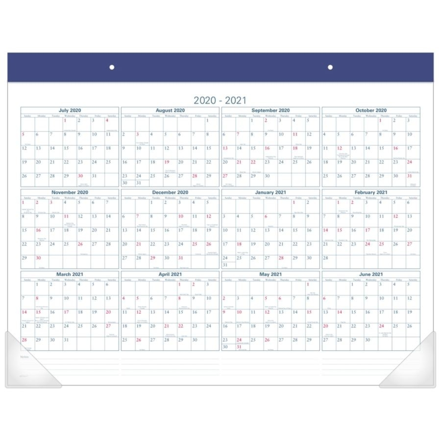 "At-A-Glance® Academic Desk Calendar, 22"" X 17"", Blue, July 2019 To August  2020  Depot Calendar 2020"