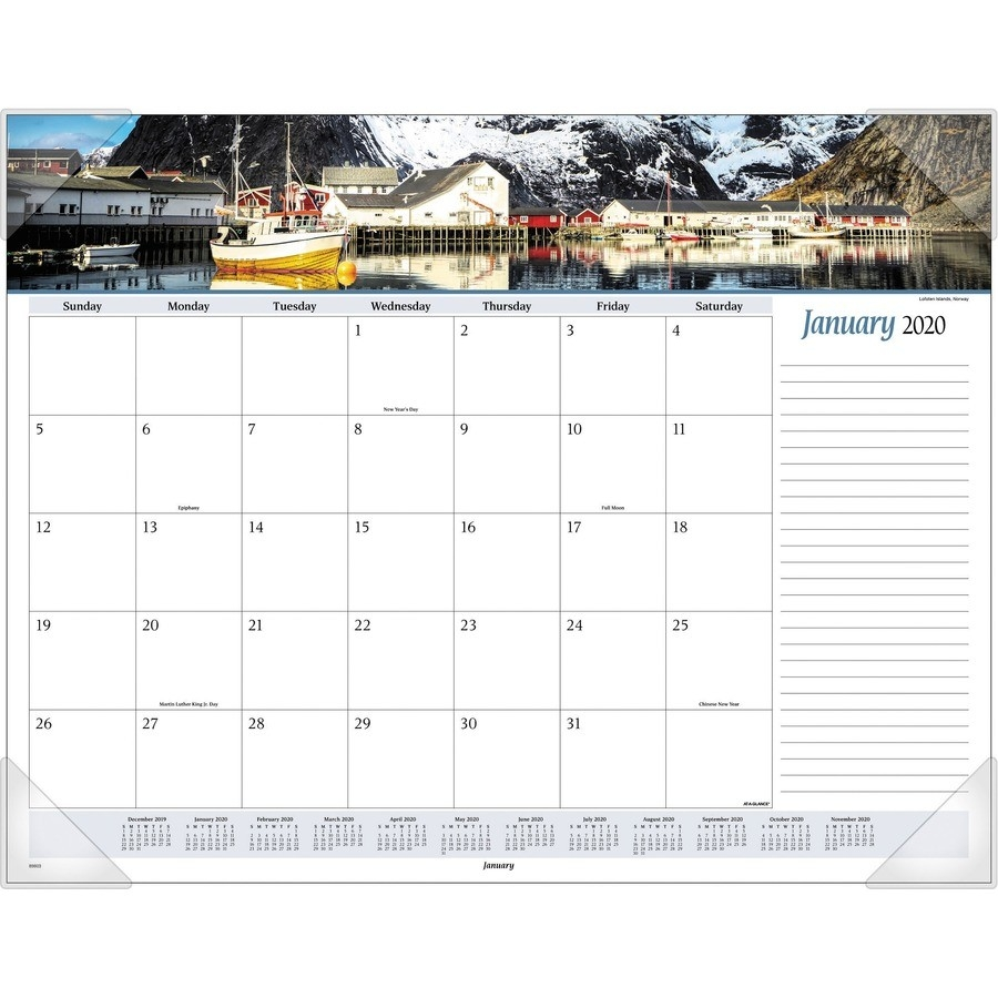 "At-A-Glance Panoramic Seascape Scene Monthly Desk Pad - Yes - Monthly - 1  Year - January 2020 Till December 2020 - 1 Month Single Page Layout - 22"" X  Official Navy Calendar Template With Julian Dates 2020"