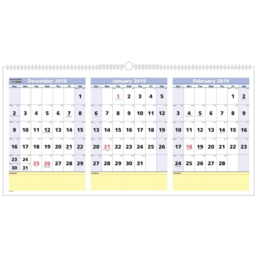 "At-A-Glance® Quicknotes® 15-Month 3-Month Reference Horizontal Wall  Calendar, 23 1/2"" X 12"", December 2018 To February 2020  Depot Calendar 2020"