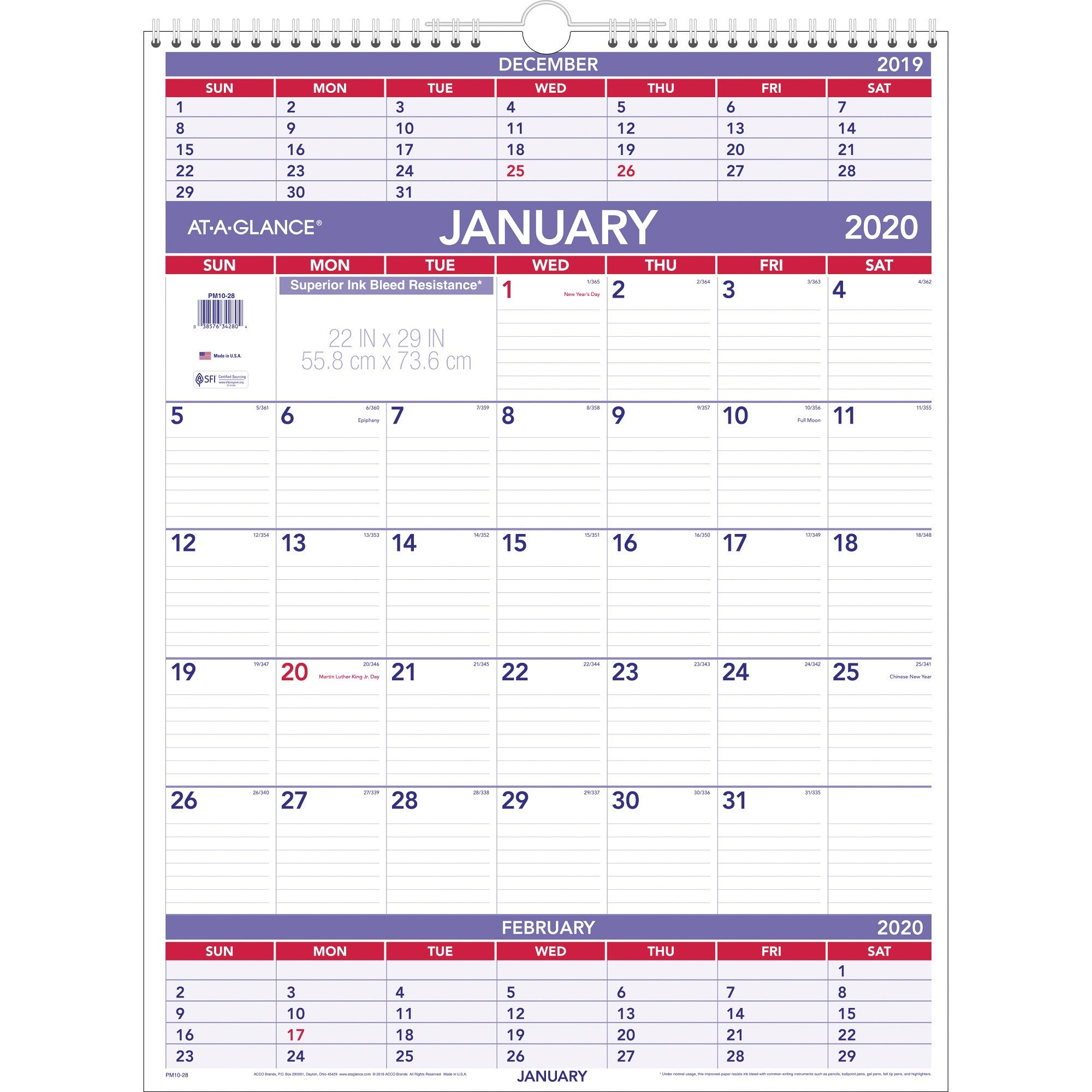 At-A-Glance Recycled 3-Months-Per-Page Wall Calendar - Yes  3 Month Per Page Calendar 2020