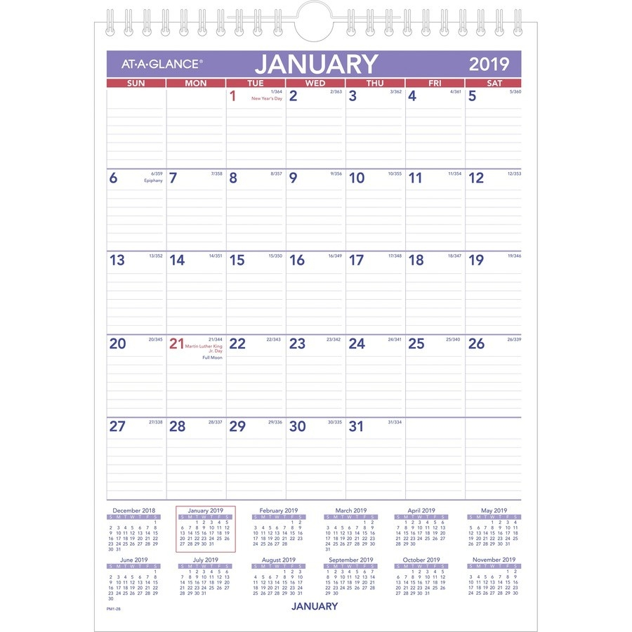 "At-A-Glance Recycled Monthly Wall Calendar - Yes - Monthly - 1 Year -  January 2020 Till December 2020 - 1 Month Single Page Layout - 8"" X 11"" -  Wire  Government Julian Date 2020"