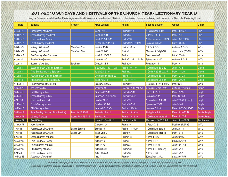 At Lutheran Church Year Calendar 2016 With - Bgadv  United Methodist Church Liturgical Calendar