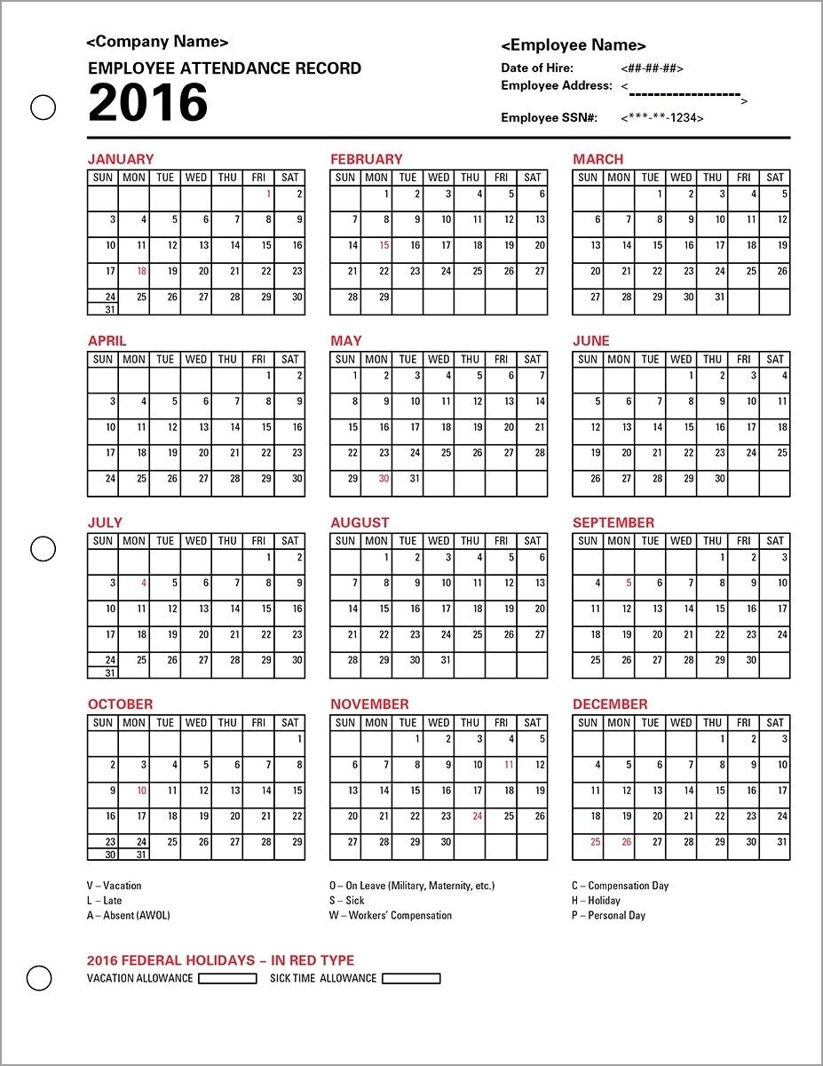 Attendance Calendar 2016 Free | Jcreview  Ppe 2020 Employee Attendance Calendar 2020