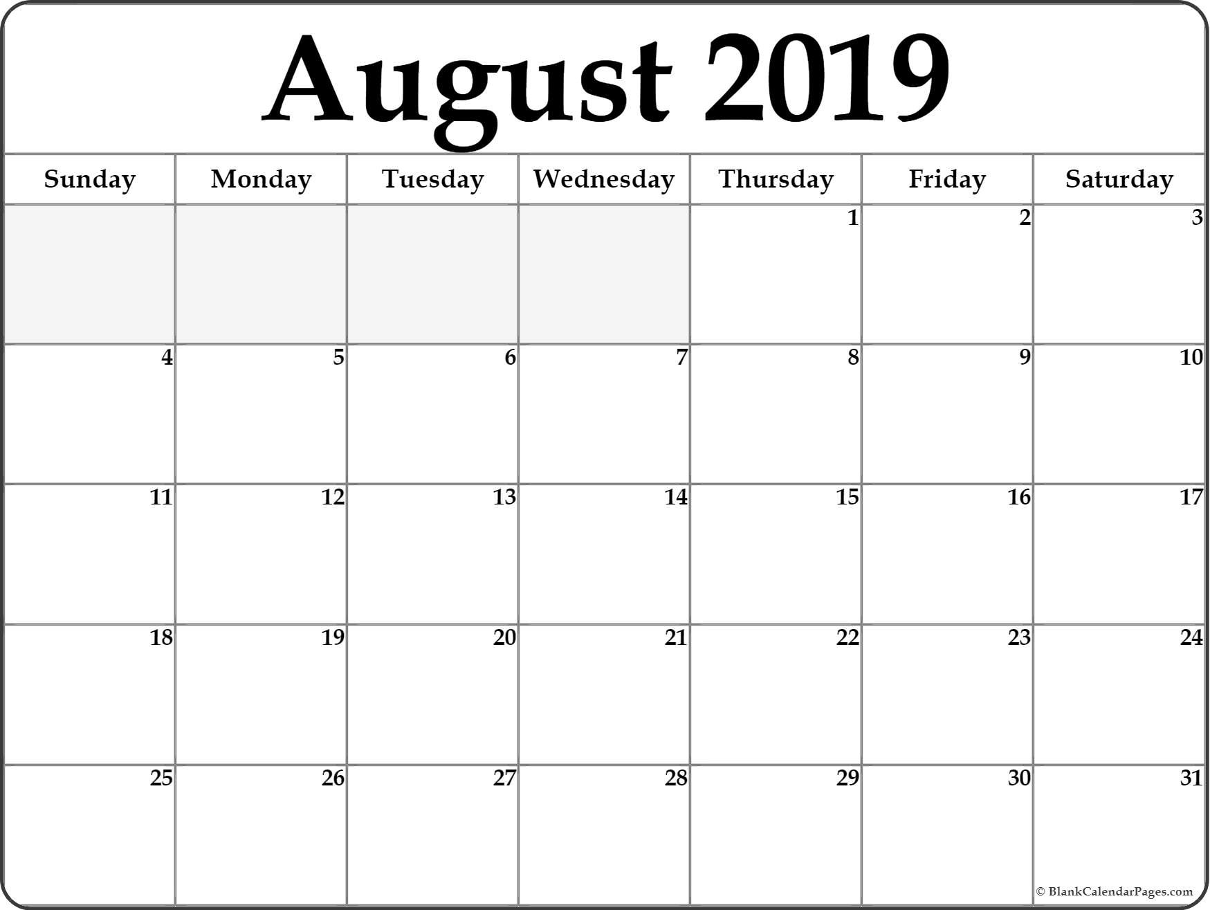 August 2019 Calendar | Free Printable Monthly Calendars  Blank Full Page Calendar Printable June
